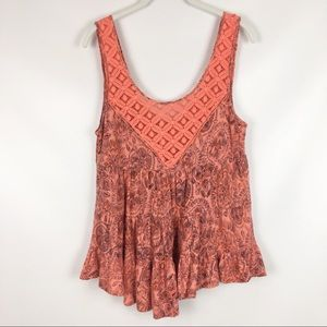 FREE PEOPLE | babydoll coral lace tank top 0386